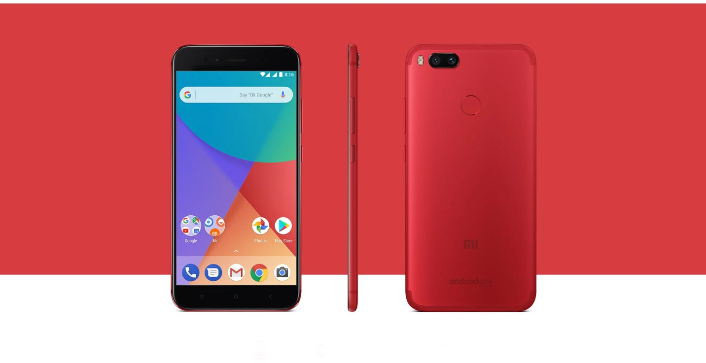 Xiaomi Mi A1 with Red and White Texture Background