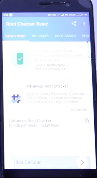 Xiaomi Redmi Note 3 Root Checker Status
