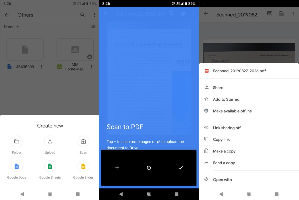Google Drive Scan Screenshots