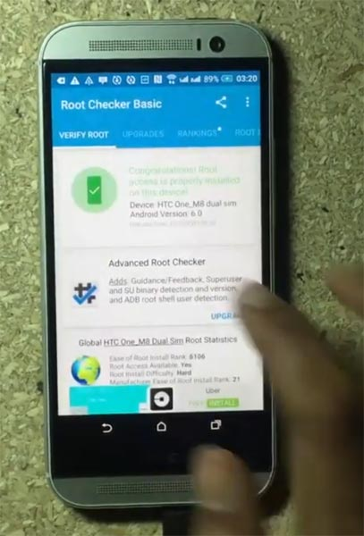 HTC One M8 Root Checker Status