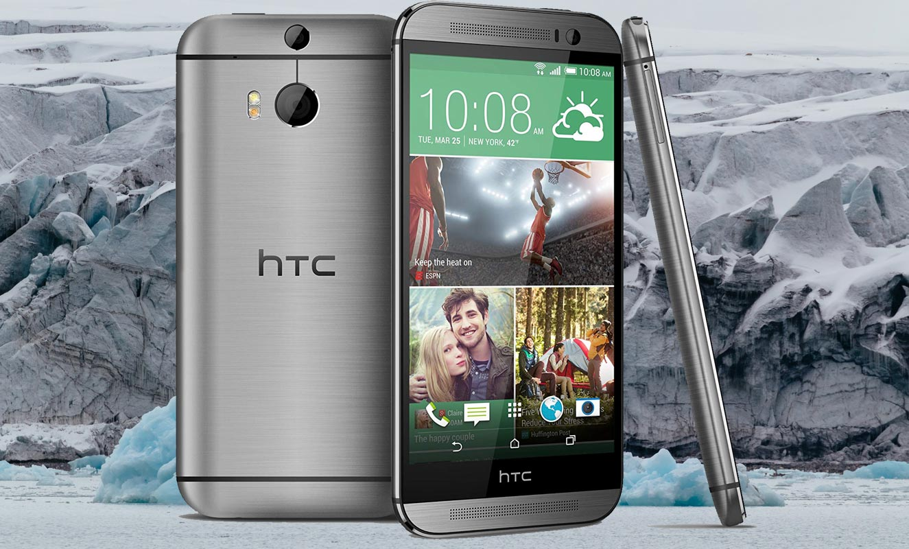 HTC One M8 with Ice Mountain Background