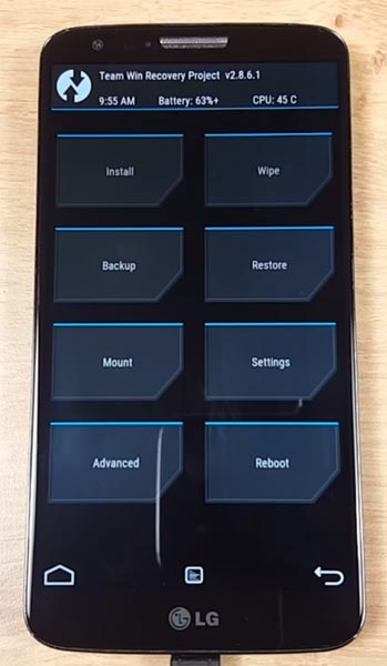 LG G2 TWRP Home