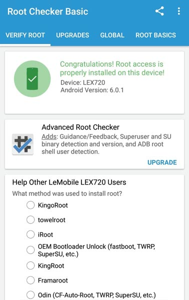 LeEco Le Pro3 Root Checker Result