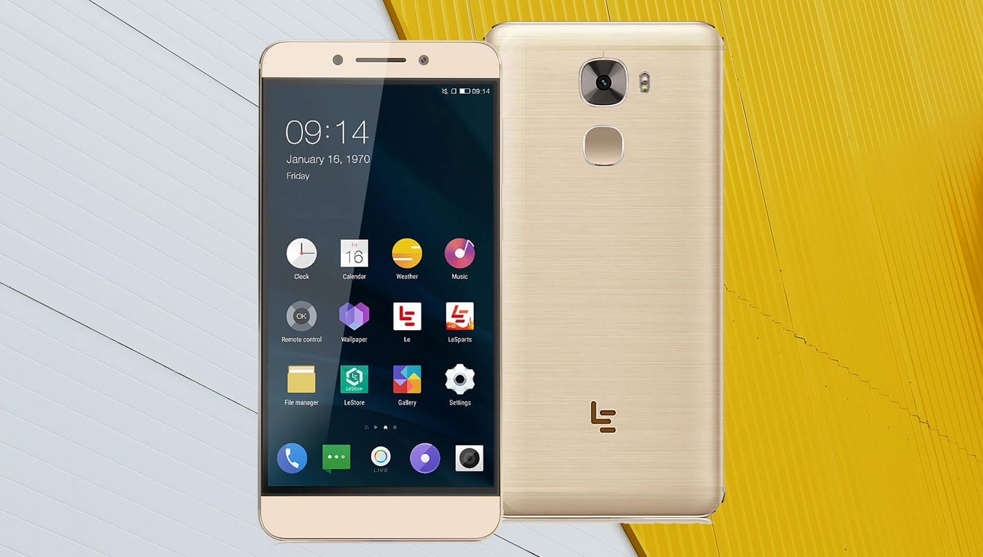 LeEco Le Pro3 with Yellow and Grey Background