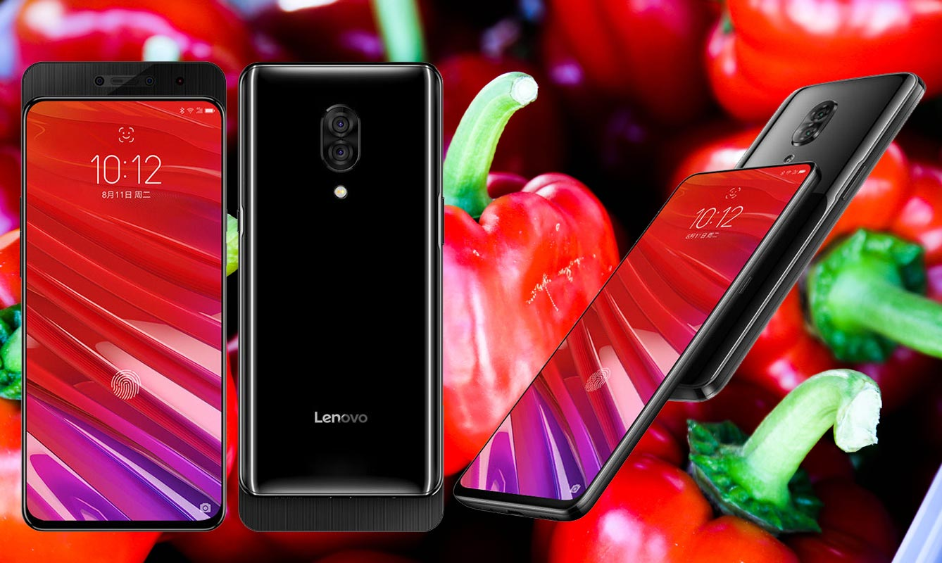 Lenovo Z5 Pro with Red Capsicum Background