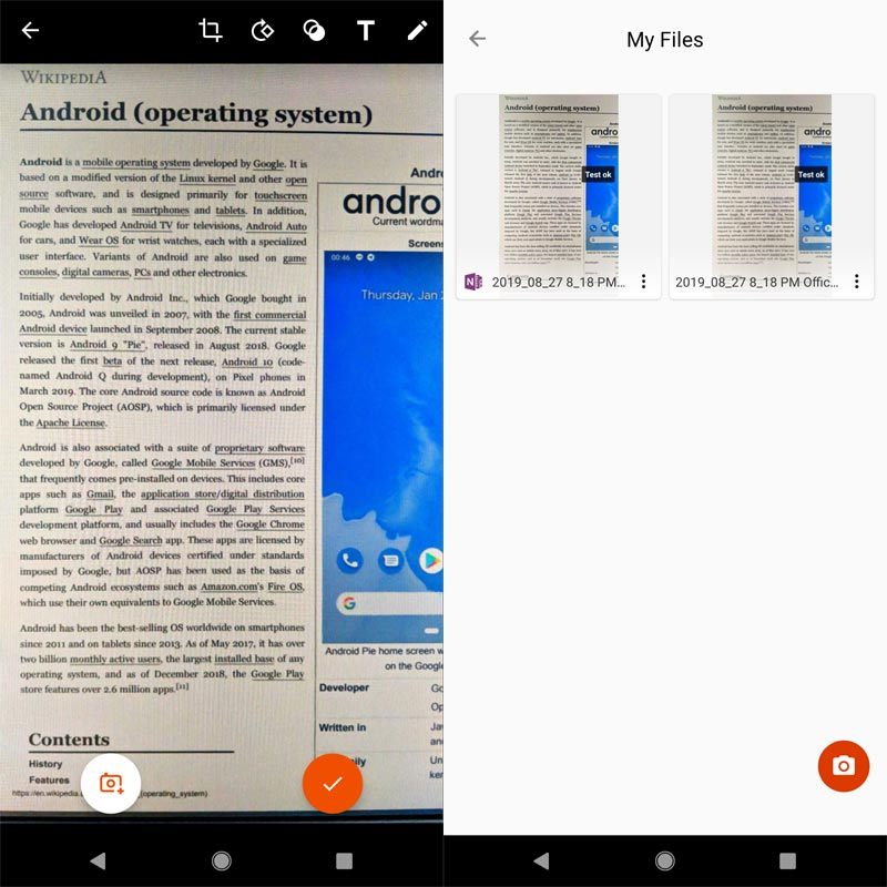Microsoft Office Lens App Screenshots