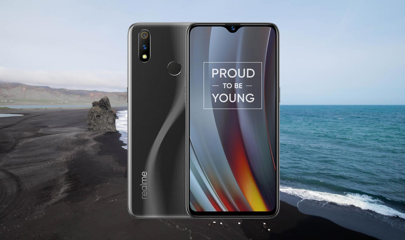Realme 3 Pro With Black Sand Beach Background