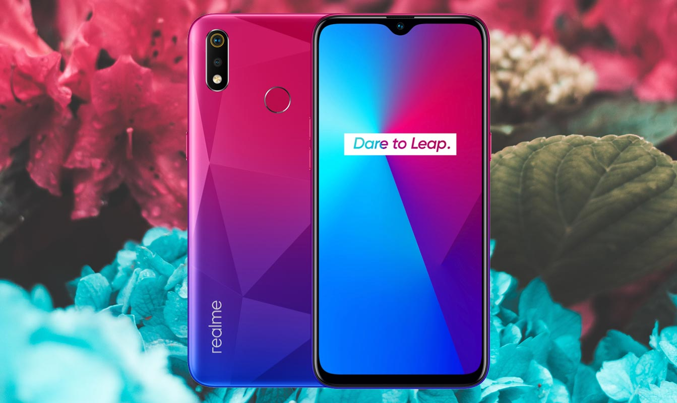 Realme 3i with Red Blue Flower Background