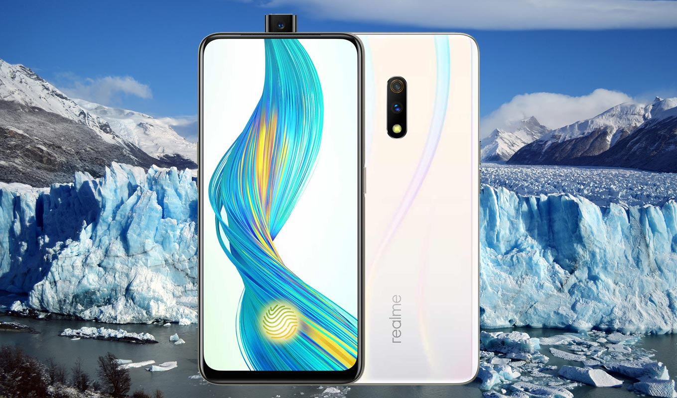 Realme X with Blue Ice Background
