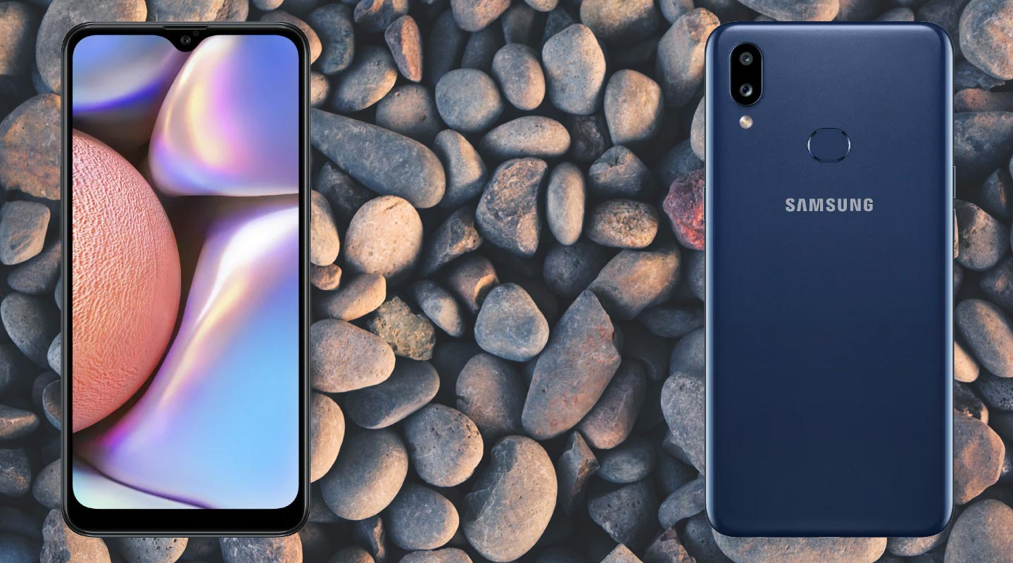 Samsung Galaxy A10s With Pebbles Background