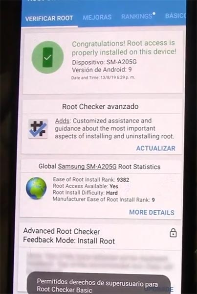 Samsung Galaxy A20 Root Checker Result