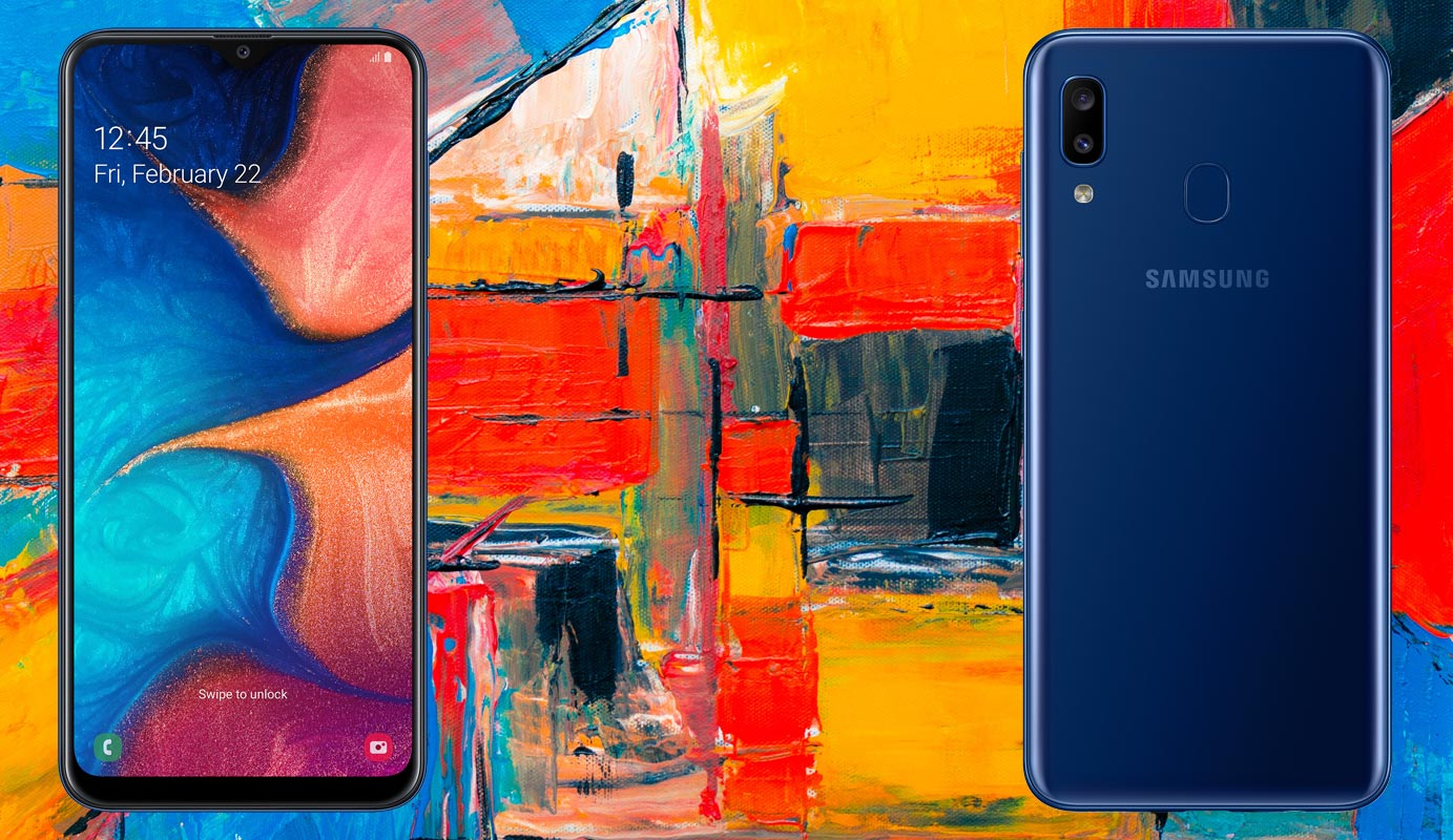 Samsung Galaxy A20 with Colour Painting Background