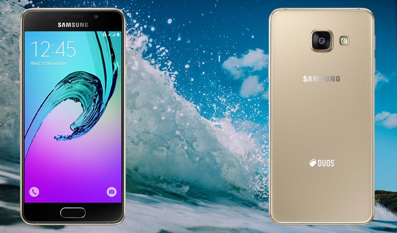 Samsung Galaxy A3 2016 with Sea Wave Background