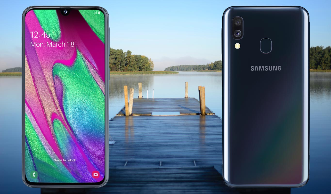 Samsung Galaxy A40 with Lake View Background