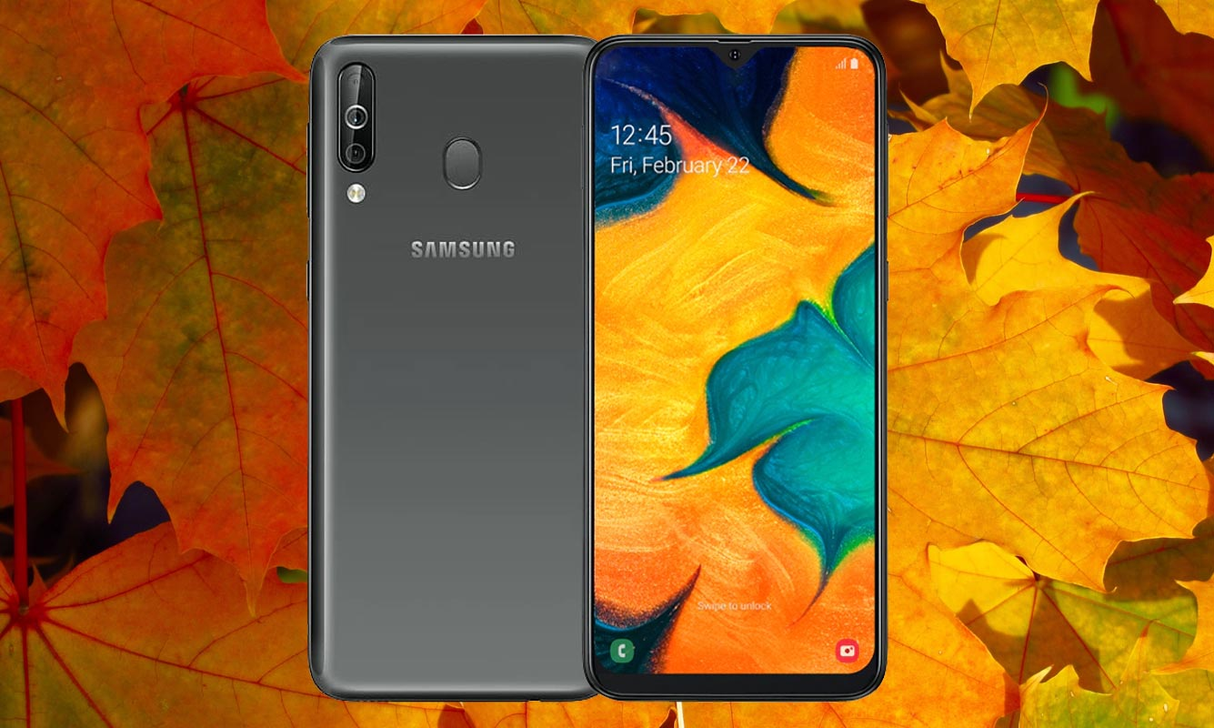 Samsung Galaxy A40s With Yellow Leaf Background