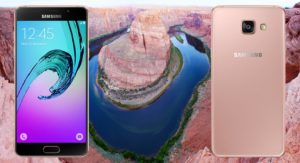 Samsung Galaxy A5 2016 with Mountain Pond Background