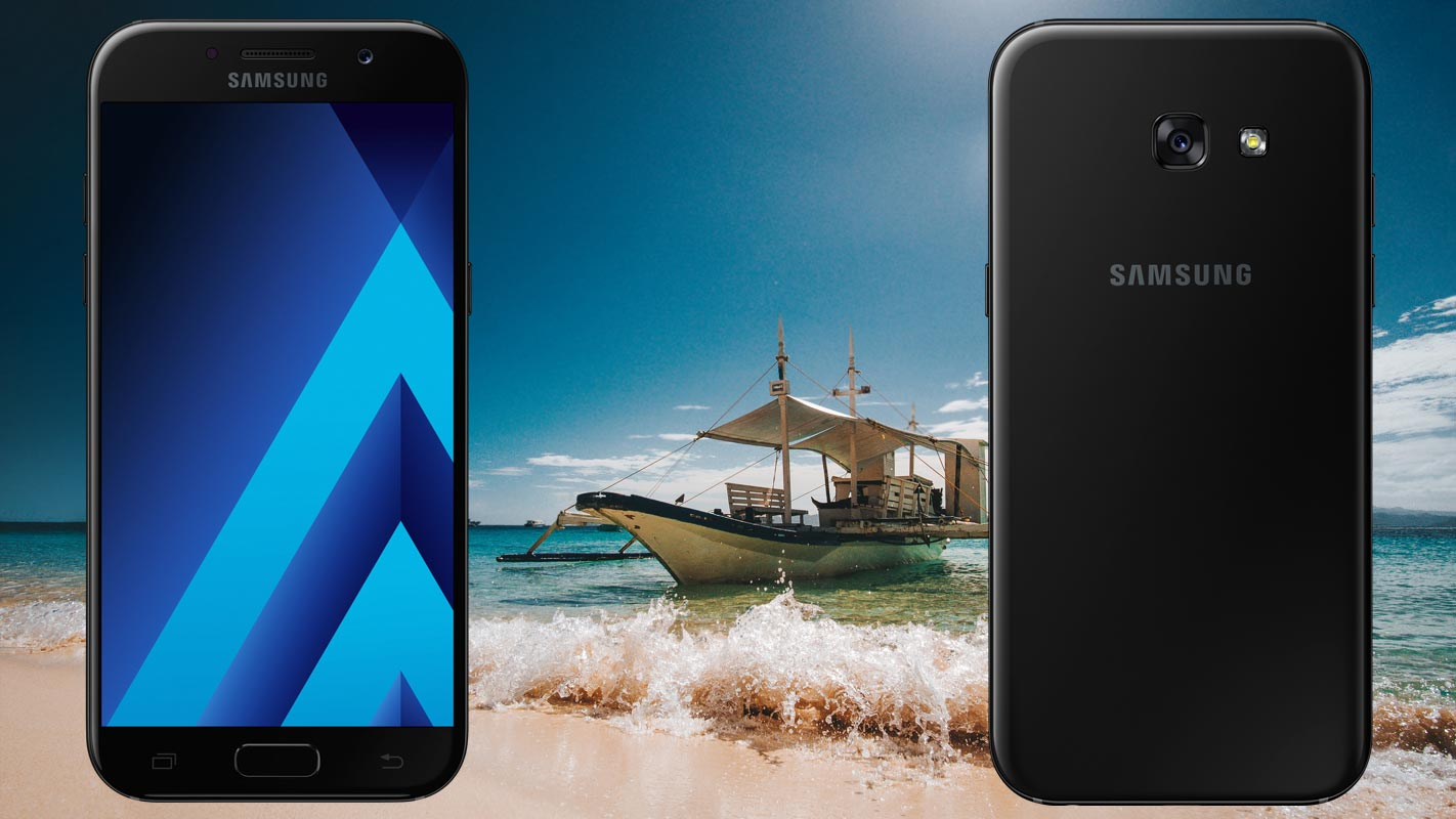 Samsung Galaxy A5 2017 with Beach Boat Background