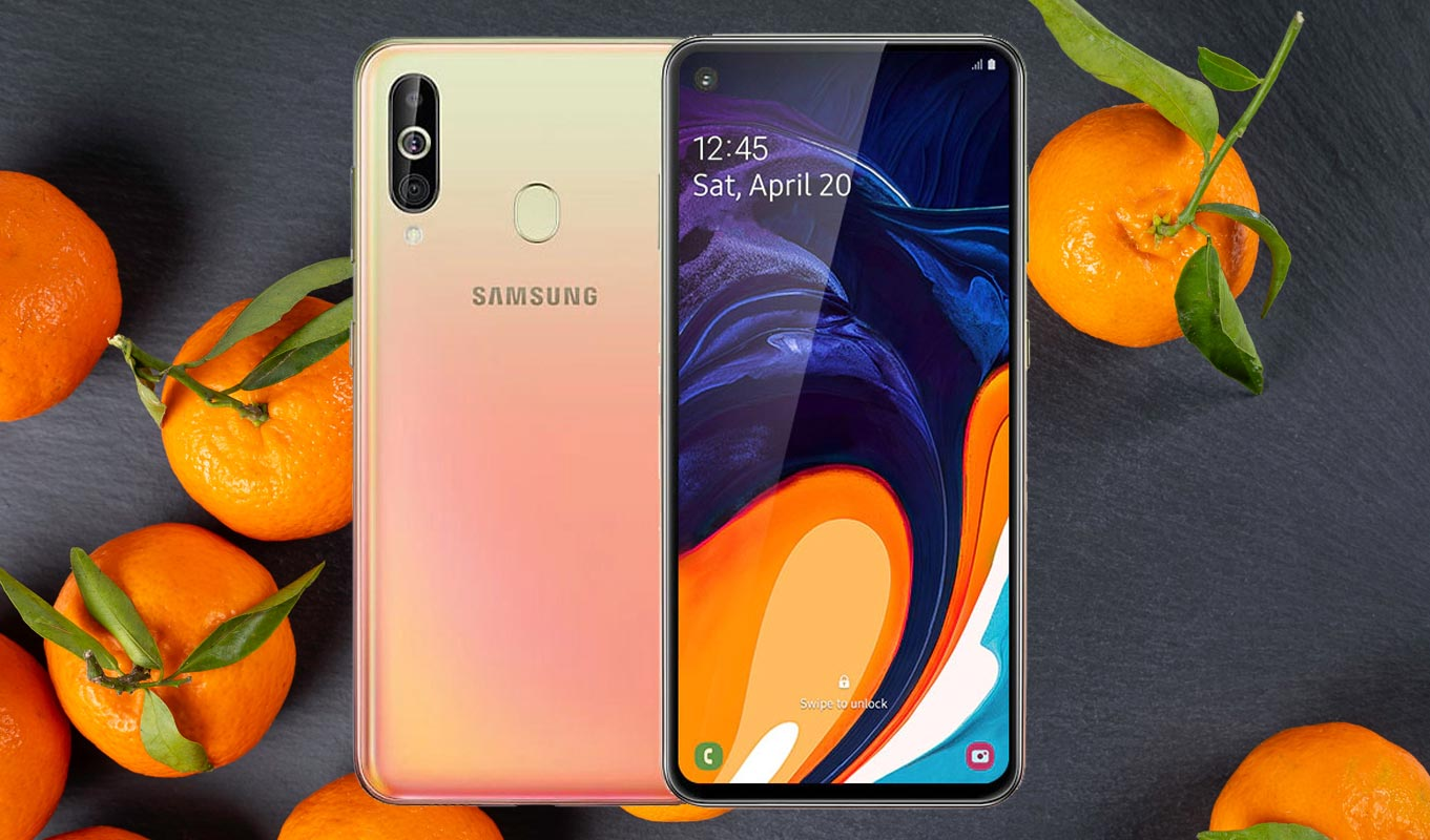 Samsung Galaxy A60 with Orange Background