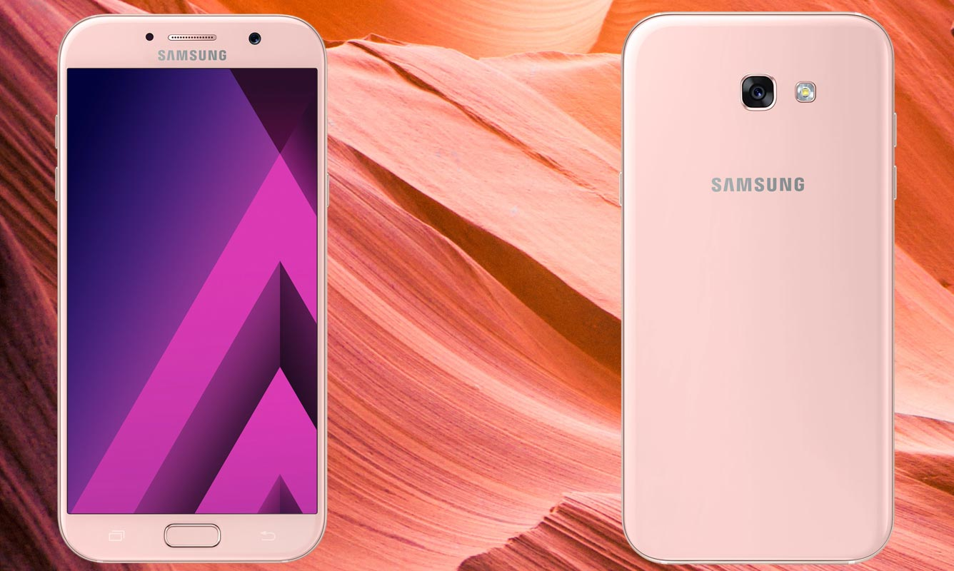 Samsung Galaxy A7 2017 with Pink Mountain Background