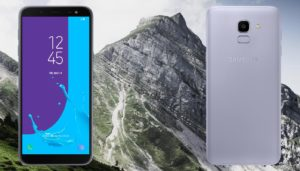 Samsung Galaxy J6 with Ice Mountain Background