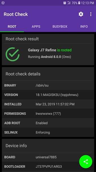 Samsung Galaxy J7 Refine 2018 Root checker Status