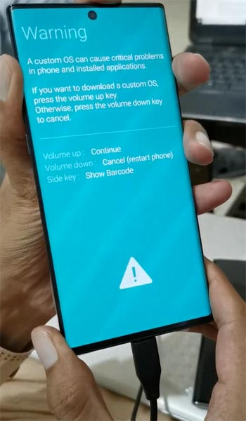 Samsung Galaxy Note 10 Plus Download Mode Warning Screen