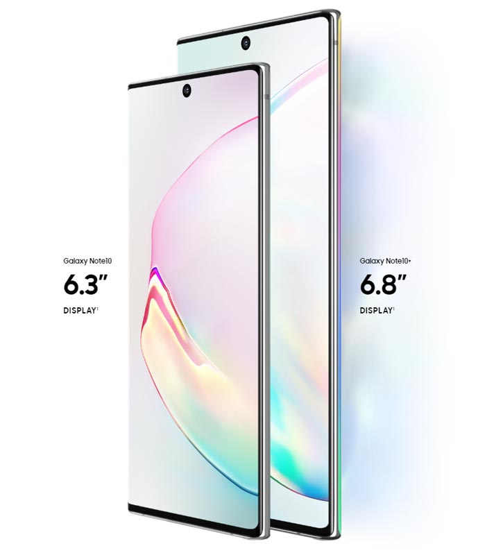 Samsung Galaxy Note 10 and 10 Plus Display Size