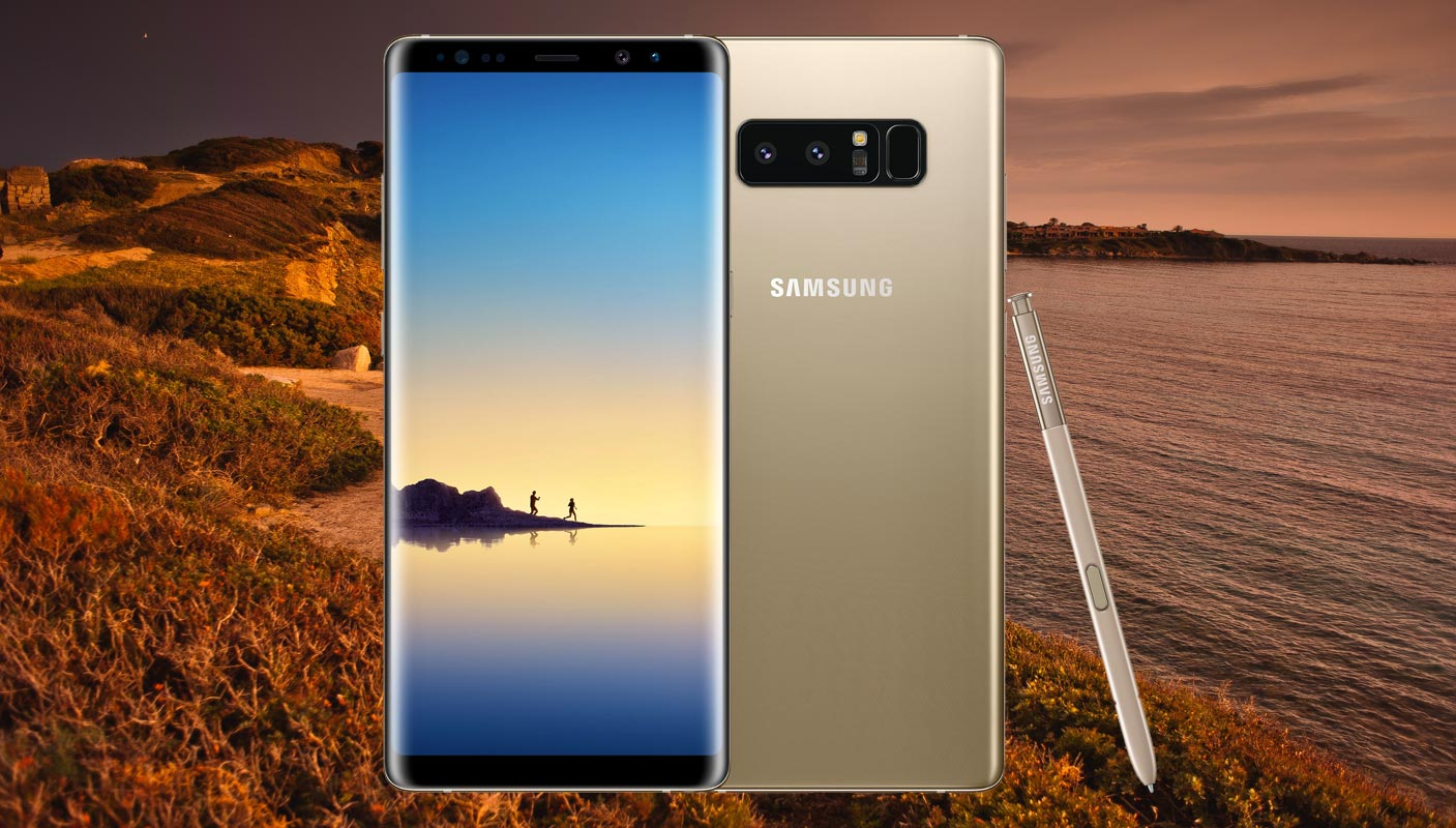 Samsung Galaxy Note 8 with Mountain Sea View Background