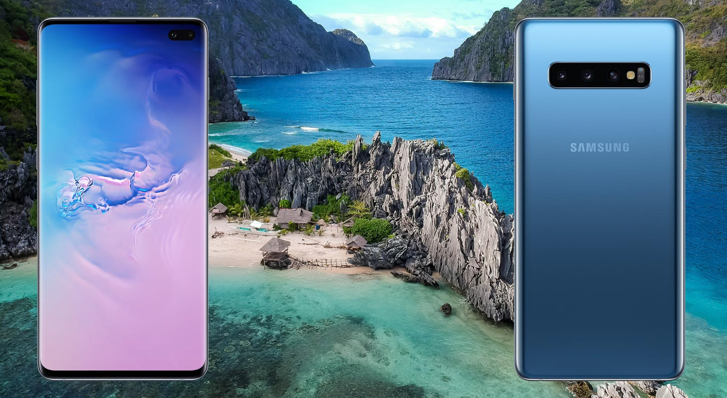 Samsung Galaxy S10 Plus with Island Beach Background