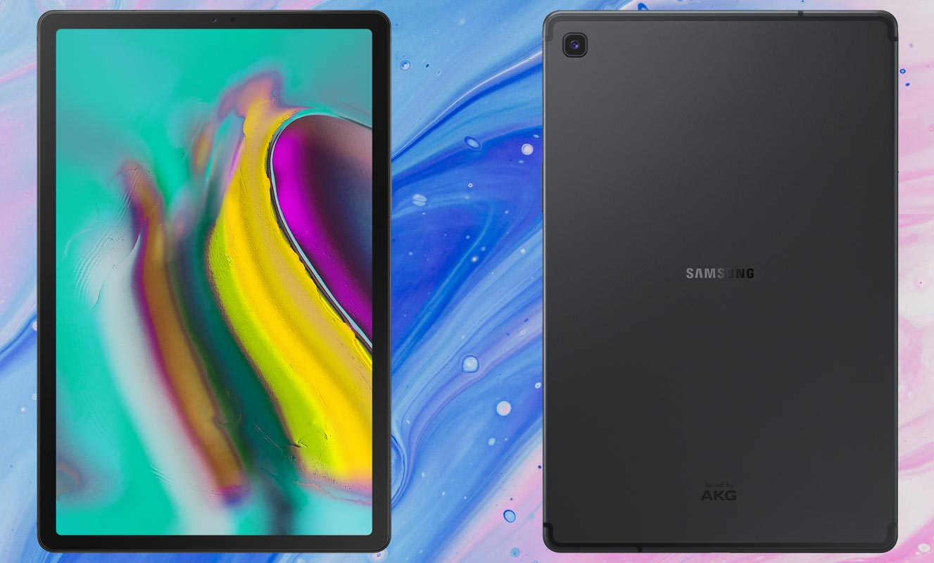 Samsung Galaxy Tab S5e with Blue Pink Texture Background