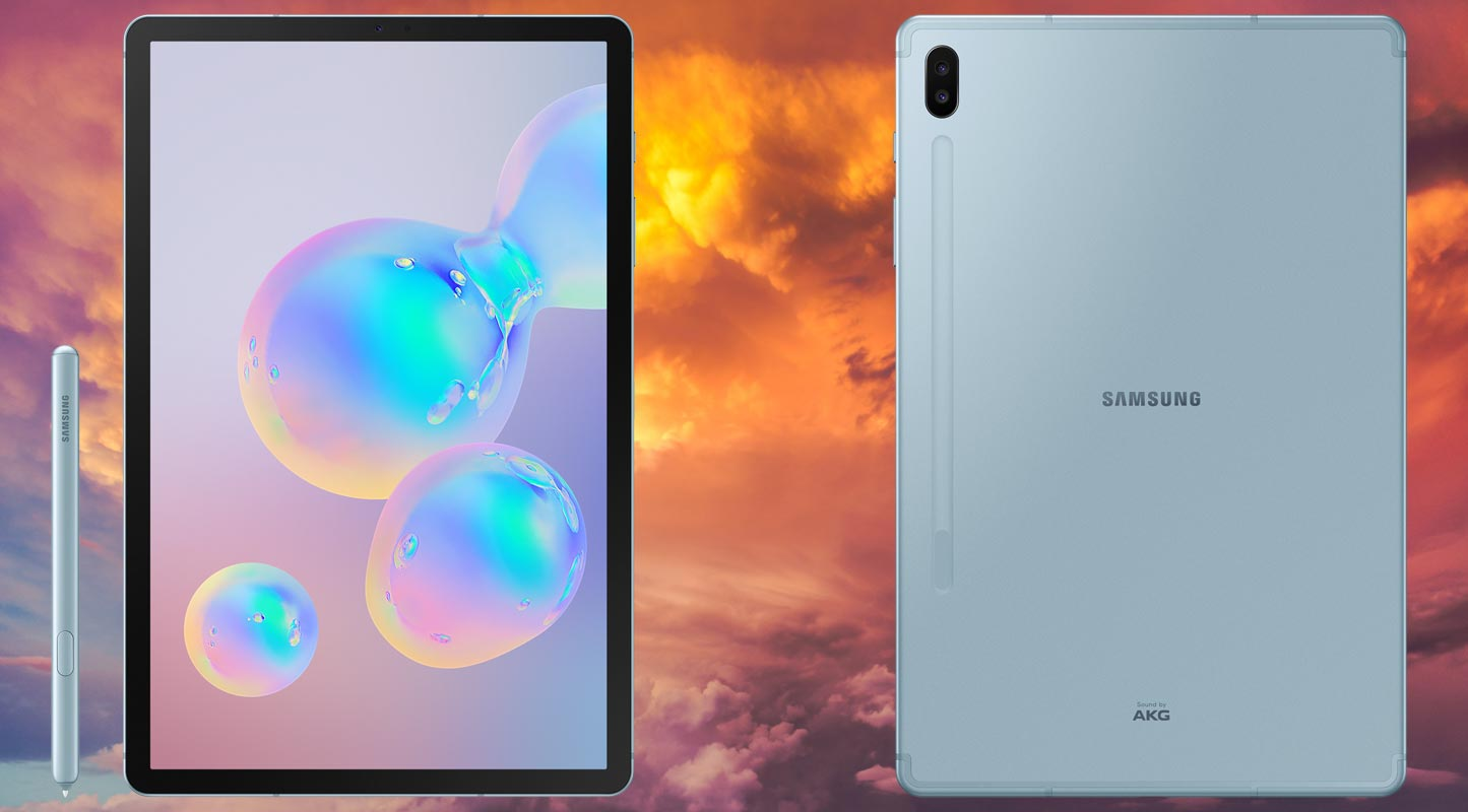 Samsung Galaxy Tab S6 With Red Shade Cloud Background
