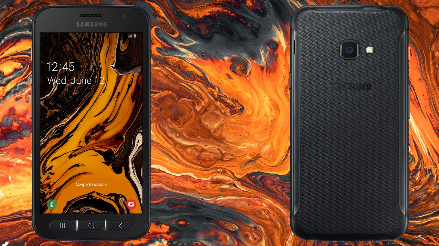 Samsung Galaxy Xcover 4s with Lava Background