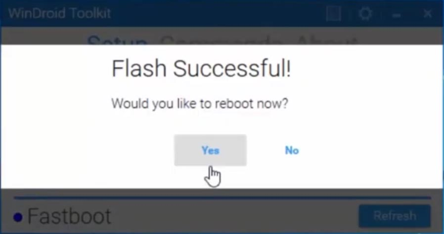 WinDroid Toolkit TWRP Flash Successful