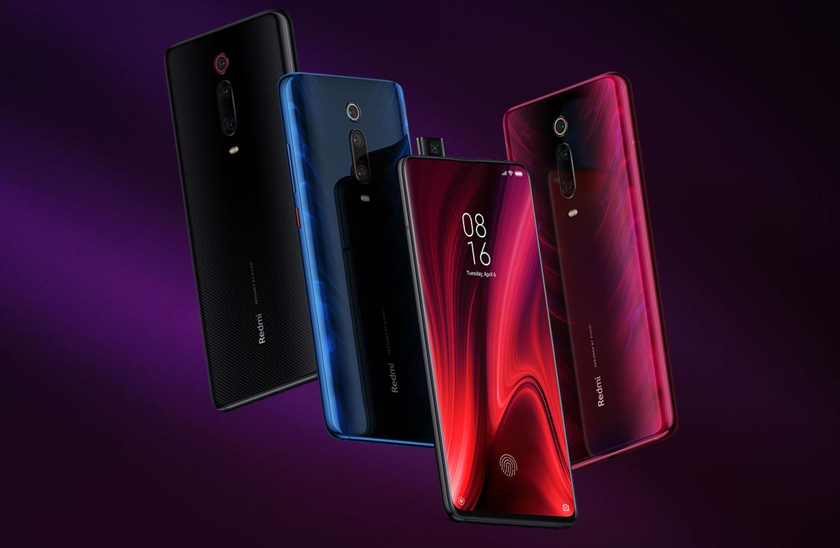 Xiaomi Redmi K20 Pro with Dark Pink and Black Background