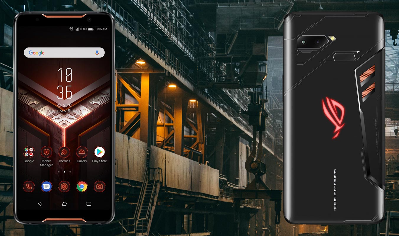 Asus ROG Phone with Steel Factory Background