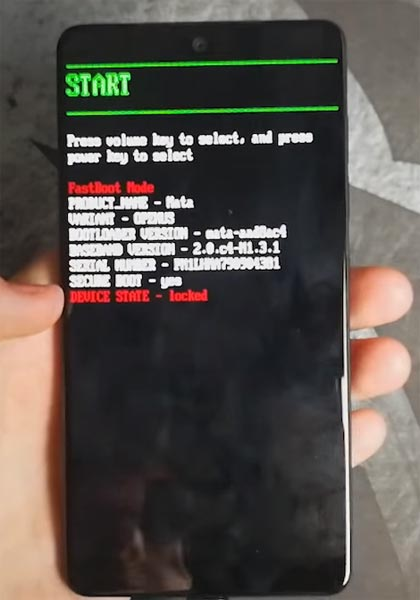 Essential PH-1 Fastboot Screen