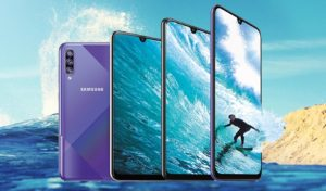 Galaxy A50s with Sea Surf Background