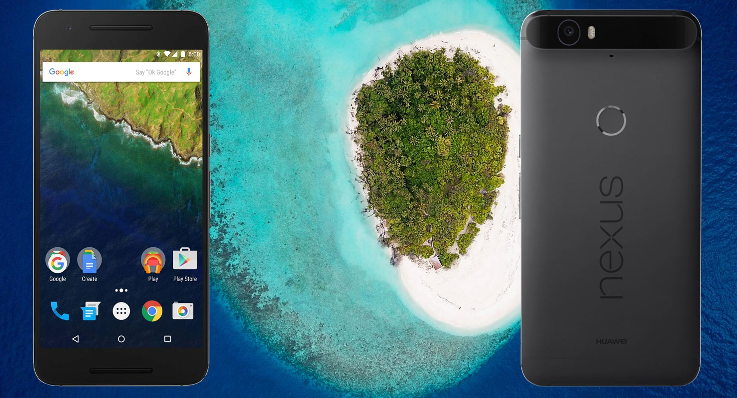 Huawei Nexus 6P with Island Beach Background