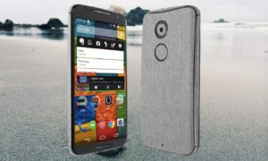 Moto X 2014 With Grey Sand Beach Background