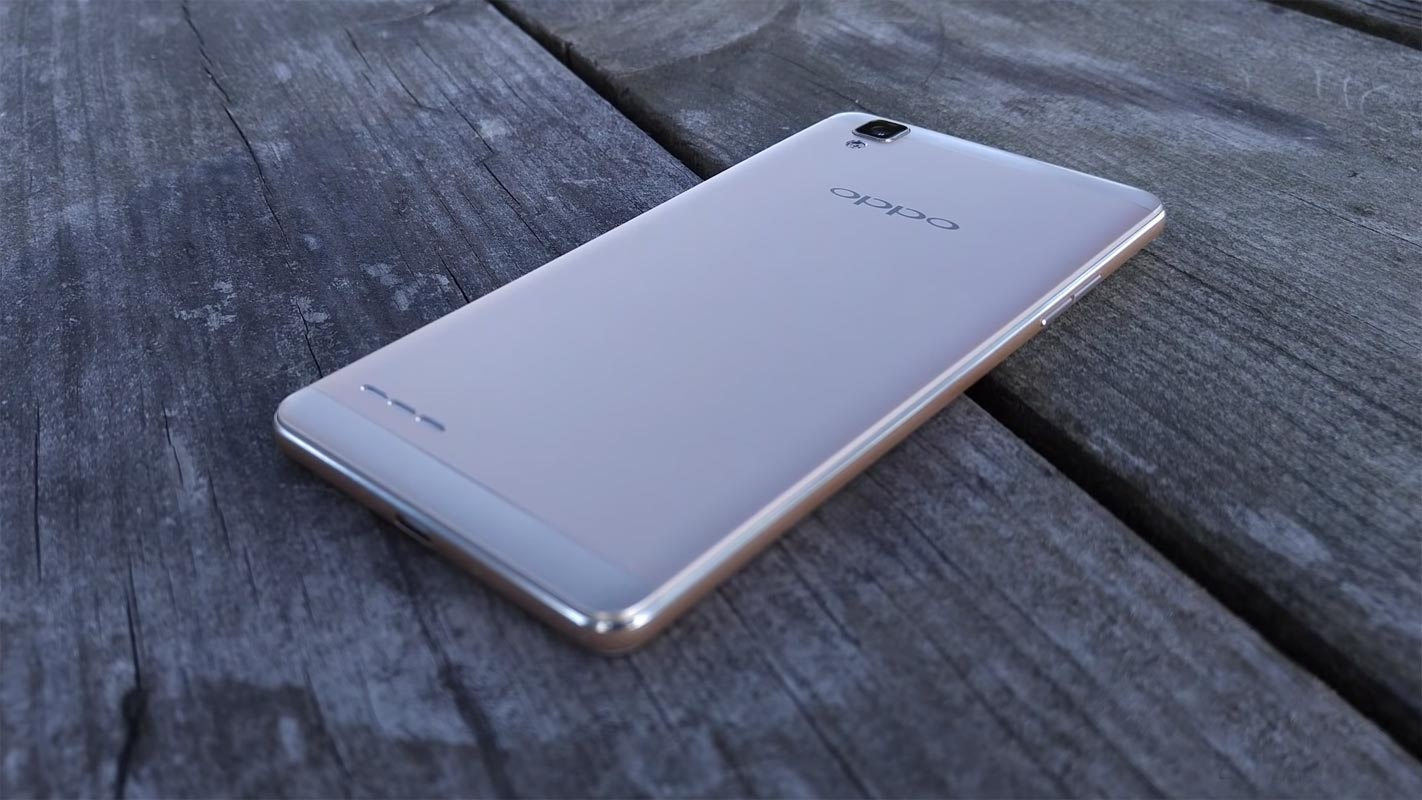 OPPO F1 Back Side on the Wooden Bench