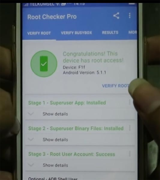Oppo F1 Root Checker Result