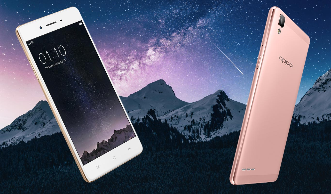 Oppo F1 with Stars and Mountain Background