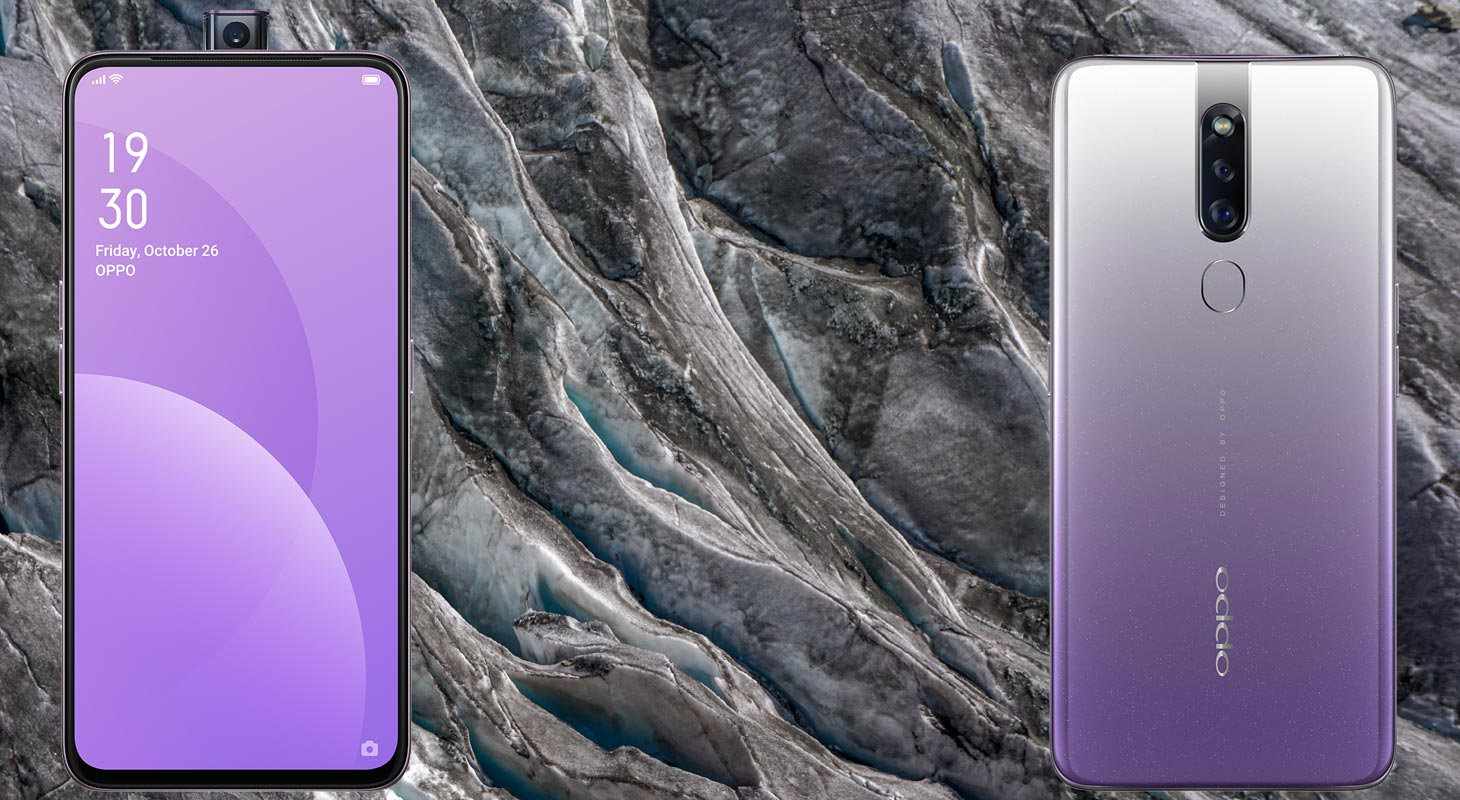 Oppo F11 Pro with Grey Mountain Background