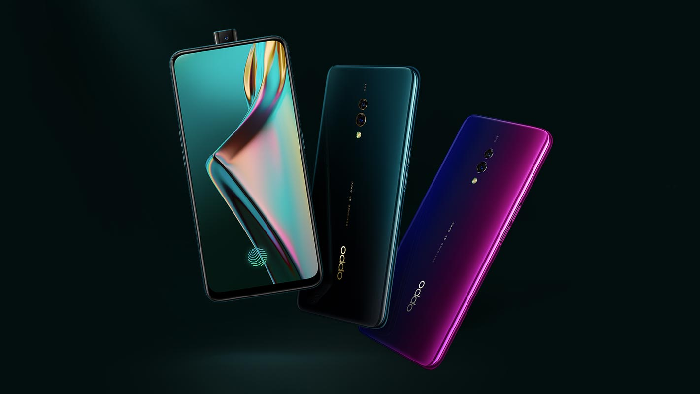 Oppo K3 with Dark Green Background