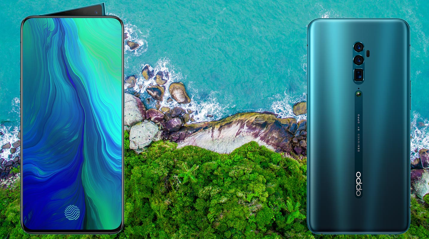 Oppo Reno With Green Sea Background