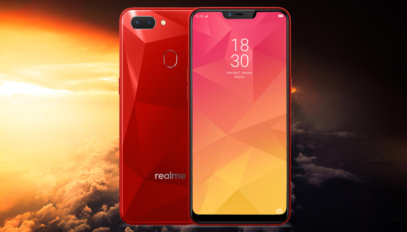 Realme 2 with Sun Rise in the Cloud Background