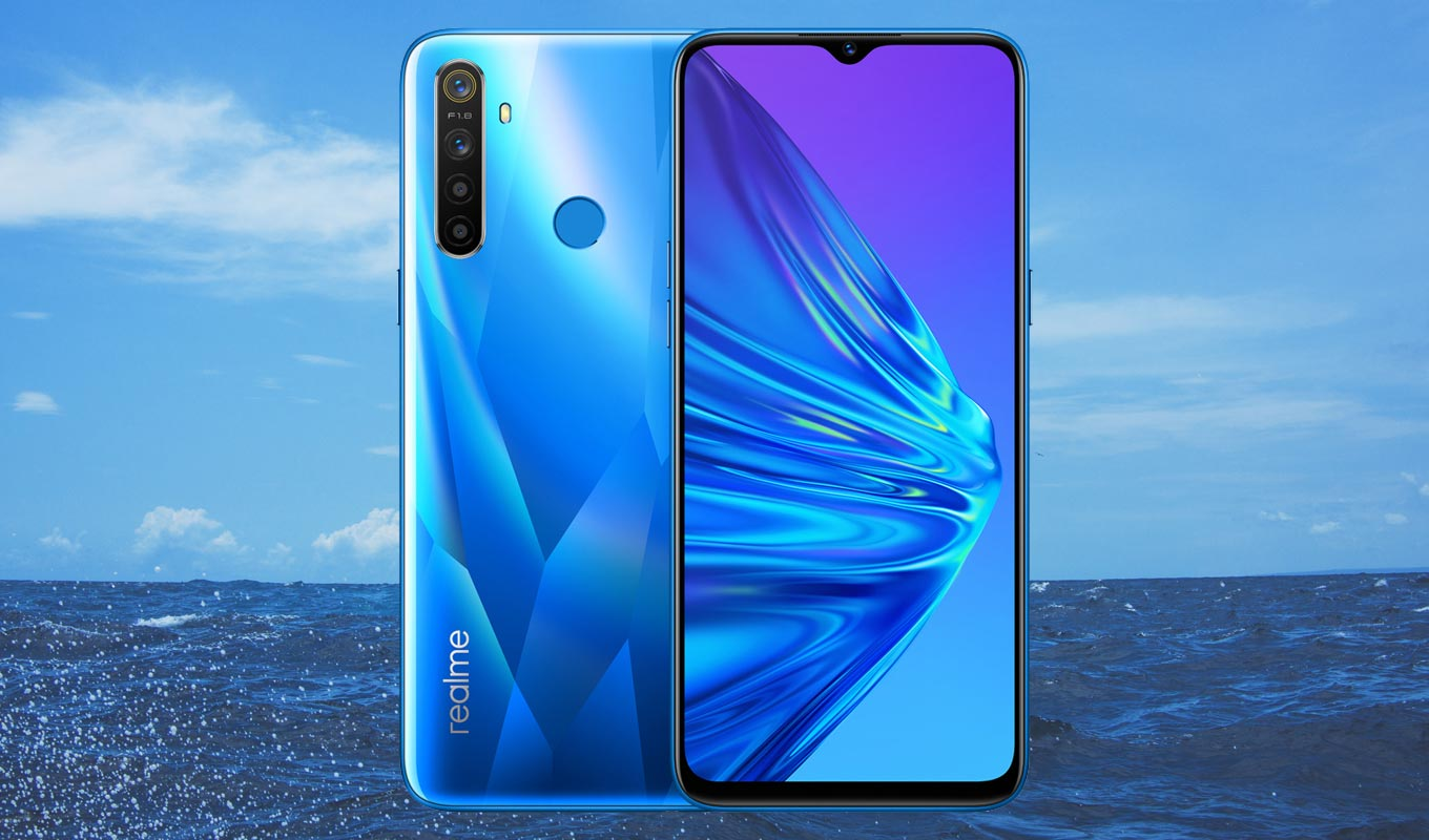 Realme 5 with Sea Water Background