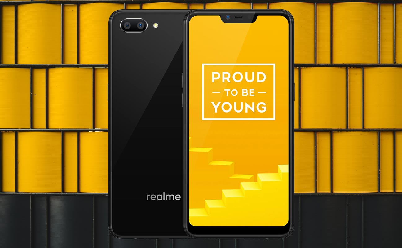 Realme C1 with Yellow Black Bricks Background