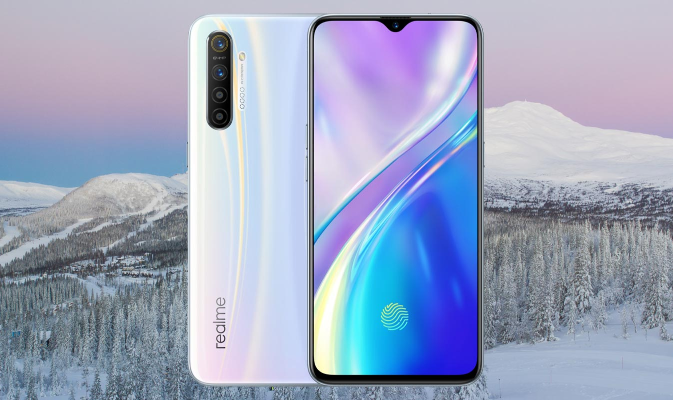 Realme XT with Blue Pink Ice Mountain Background
