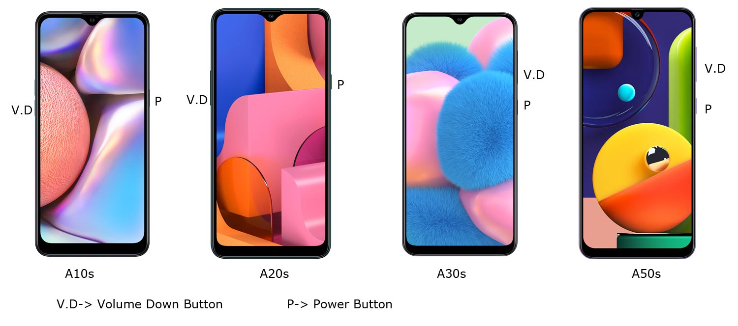 Samsung A10s A20s A30s A50s Screenshot Key Combination